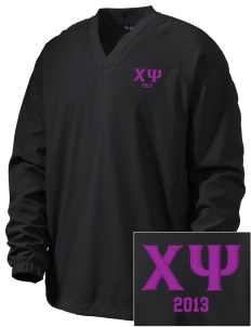 Chi Psi Embroidered Men's V-Neck Raglan Wind Shirt