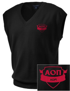 Alpha Omicron Pi Embroidered Men's Fine-Gauge V-Neck Sweater Vest