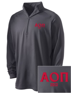Alpha Omicron Pi Embroidered Men's Stretched Half Zip Pullover