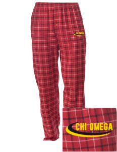 Chi Omega Embroidered Men's Button-Fly Collegiate Flannel Pant