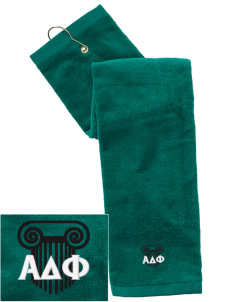 Alpha Delta Phi Embroidered Hand Towel with Grommet