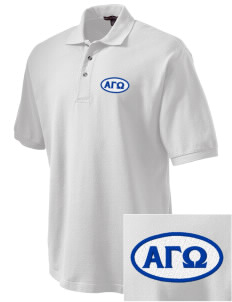 Alpha Gamma Omega Embroidered Tall Men's Pique Polo