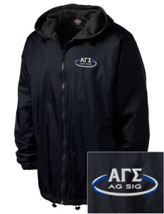 Alpha Gamma Sigma Embroidered Dickies Men's Fleece-Lined Hooded Jacket