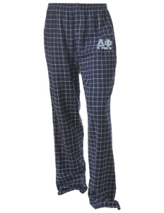 Delta Phi Unisex Button-Fly Collegiate Flannel Pant with Distressed Applique