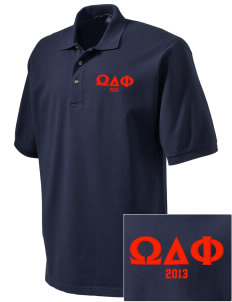 Omega Delta Phi Embroidered Tall Men's Pique Polo