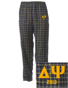Delta Psi Embroidered Men's Button-Fly Collegiate Flannel Pant