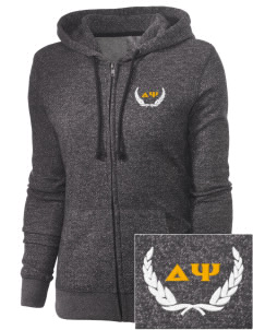 Delta Psi Embroidered Women's Marled Full-Zip Hooded Sweatshirt
