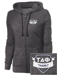Tau Delta Phi Embroidered Women's Marled Full-Zip Hooded Sweatshirt