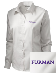 Furman University Paladins  Embroidered Women's Long Sleeve Non-Iron Twill Shirt