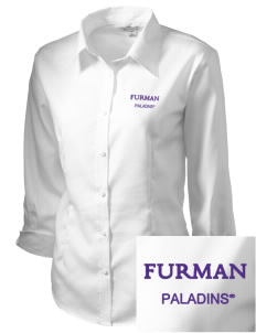 Furman University Paladins Embroidered Women's 3/4 Sleeve Non-Iron