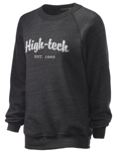 High-Tech Institute est. 1992 Unisex Alternative Eco-Fleece Raglan Sweatshirt with Distressed Applique