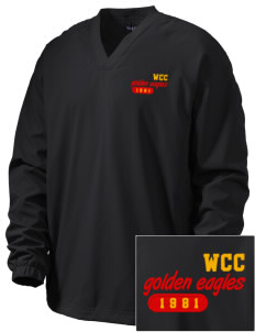 Warren County Community College Golden Eagles Embroidered Men's V-Neck Raglan Wind Shirt