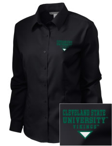 Cleveland State University Vikings  Embroidered Women's Long Sleeve Non-Iron Twill Shirt