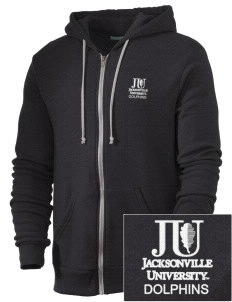 Jacksonville University Dolphins Embroidered Alternative Men's Rocky Zip Hooded Sweatshirt