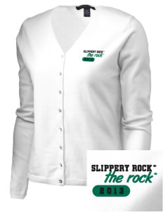 Slippery Rock University The Rock Embroidered Women's Stretch Cardigan Sweater