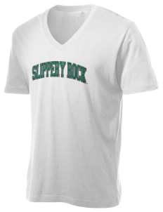 Slippery Rock University The Rock Alternative Men's 3.7 oz Basic V-Neck T-Shirt