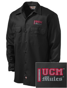 University of Central Missouri Mules Embroidered Dickies Men's Long-Sleeve Workshirt