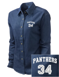 Salmon Bay Panthers Embroidered Women's Long-Sleeve Denim Shirt