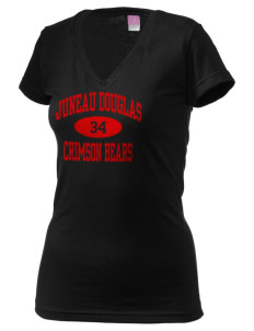 Juneau Douglas Crimson Bears Juniors' Fine Jersey V-Neck Longer Length T-shirt
