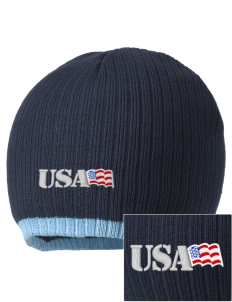 Brooks AFB Embroidered Champion Striped Knit Beanie