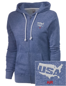 Andersen Air Force Base Embroidered Women's Marled Full-Zip Hooded Sweatshirt