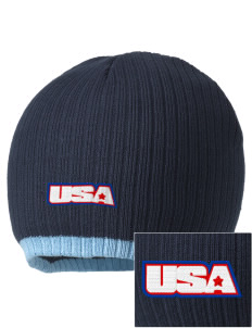 Andersen Air Force Base Embroidered Champion Striped Knit Beanie