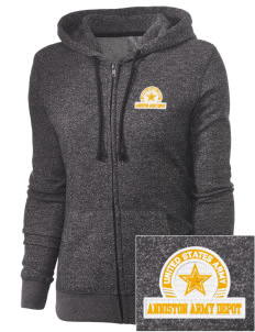 Anniston Army Depot Embroidered Women's Marled Full-Zip Hooded Sweatshirt