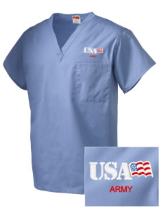 Walter Reed Army Medical Center Embroidered V-Neck Scrub Top