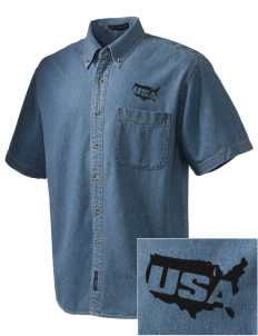 USAG Schweinfurt  Embroidered Men's Denim Short Sleeve
