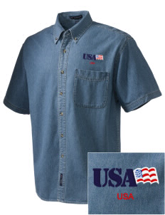 Petaluma CG Training Center  Embroidered Men's Denim Short Sleeve