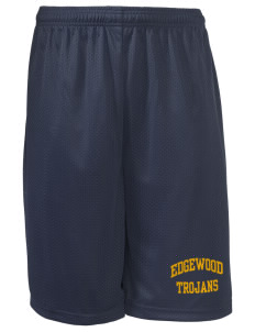 "Edgewood High School Trojans Long Mesh Shorts, 9"" Inseam"