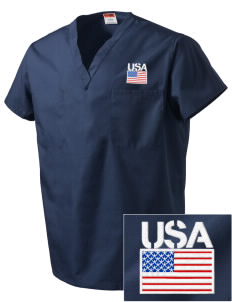 USS San Antonio Embroidered V-Neck Scrub Top
