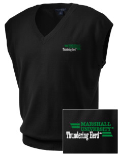Marshall University Thundering Herd Embroidered Men's Fine-Gauge V-Neck Sweater Vest