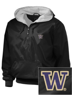 University of Washington Huskies Embroidered Holloway Men's Duraweav 1/4-Zip Hooded Jacket