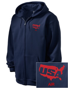 Air National Guard Embroidered Men's Full Zip Hooded Sweatshirt