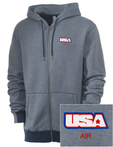 Air National Guard Embroidered Men's Mini Stripe Full Zip Hooded Sweatshirt