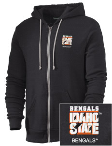 Idaho State University Bengals Embroidered Alternative Men's Rocky Zip Hooded Sweatshirt