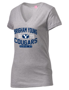 Brigham Young University Cougars Juniors' Fine Jersey V-Neck Longer Length T-shirt
