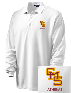 Claremont-Mudd-Scripps Women's Athletics Athenas Embroidered Men's Rapid Dry Long Sleeve Polo