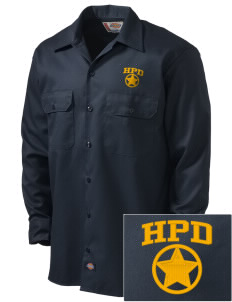 Hillcrest Police Department Embroidered Dickies Men's Long-Sleeve Workshirt