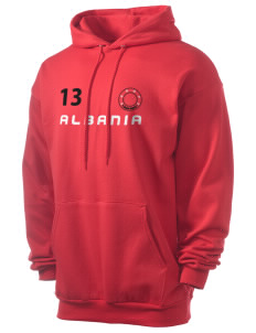 Albania Men's 7.8 oz Lightweight Hooded Sweatshirt