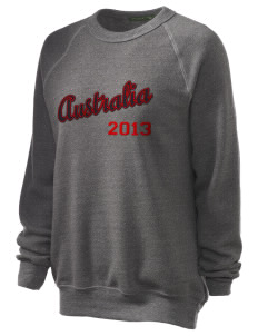 Australia Unisex Alternative Eco-Fleece Raglan Sweatshirt with Distressed Applique