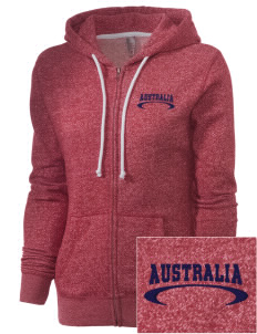 Australia Embroidered Women's Marled Full-Zip Hooded Sweatshirt
