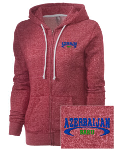 Azerbaijan Embroidered Women's Marled Full-Zip Hooded Sweatshirt