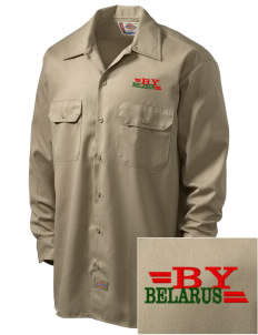 Belarus Embroidered Dickies Men's Long-Sleeve Workshirt
