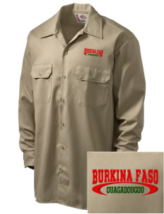 Burkina Faso Embroidered Dickies Men's Long-Sleeve Workshirt