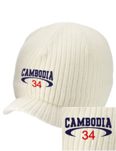 Cambodia Embroidered Knit Beanie with Visor
