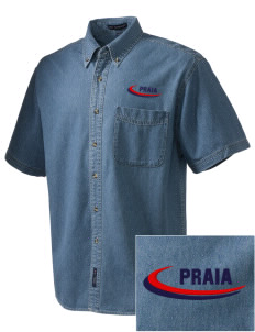 Cape Verde  Embroidered Men's Denim Short Sleeve