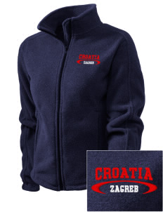 Croatia Embroidered Women's Fleece Full-Zip Jacket
