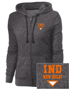 India Embroidered Women's Marled Full-Zip Hooded Sweatshirt